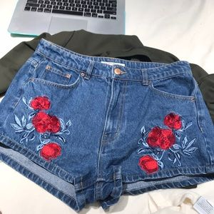 H&M Shorts - H&M for Coachella embroidered high waisted shorts